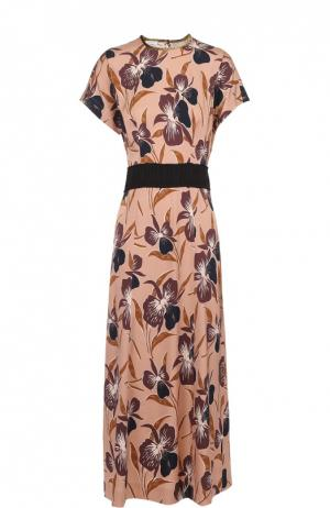 Приталенное платье с цветочным принтом и контрастным поясом Dries Van Noten. Цвет: розовый