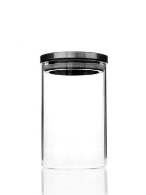 Банка для сыпучих продуктов Elff Ceramics. Цвет: прозрачный, серебристый