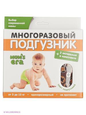Многоразовый угольный подгузник Звёзды Mum`s Era. Цвет: коричневый, белый, светло-коричневый, темно-коричневый