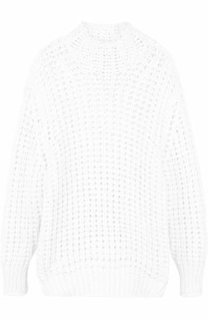 Удлиненный свитер фактурной вязки с высоким воротником Iro. Цвет: белый
