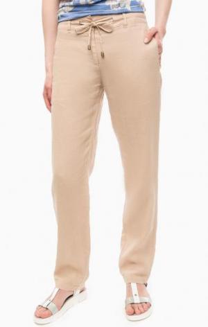 Льняные бежевые брюки на молнии olsen. Цвет: бежевый