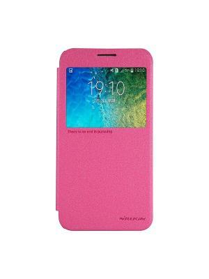Samsung Galaxy E5 Nillkin Sparkle leather case. Цвет: розовый
