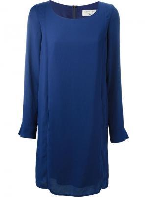 Платье шифт с плиссировкой Cotélac. Цвет: синий