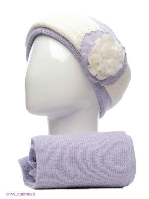 Шапка и шарф Vittorio Richi. Цвет: сиреневый, белый