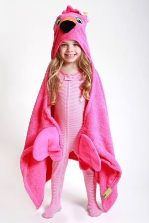 Розовое полотенце с капюшоном Zoocchini. Цвет: multicolor