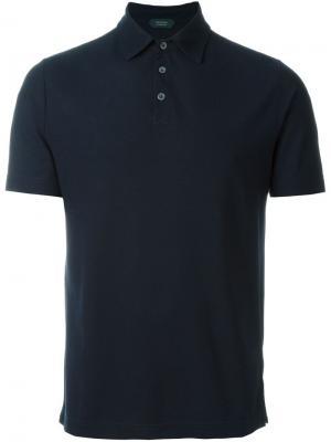 Классическая футболка-поло Zanone. Цвет: синий