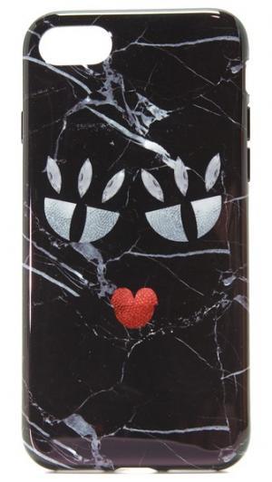 Чехол для iPhone 7 с принтом под черный мрамор и изображением монстра Iphoria
