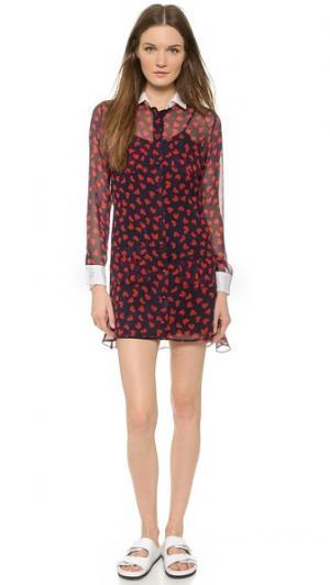Платье-рубашка с оборками на спине Harvey Faircloth. Цвет: темно-синий