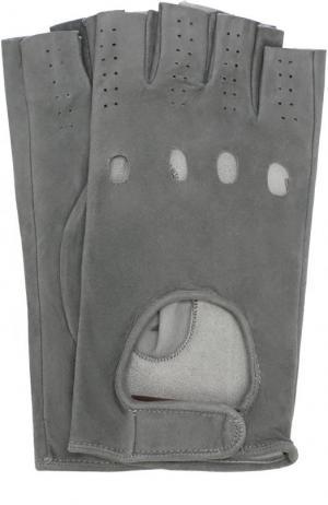 Замшевые митенки Sermoneta Gloves. Цвет: светло-серый