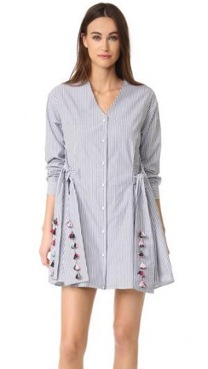 Платье в полоску Menswear Mirabelle Tanya Taylor. Цвет: черный/белый