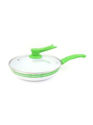 Сковорода с антипригарным покрытием (газ/электро/индукция) 22 см Peterhof. Цвет: белый, зеленый