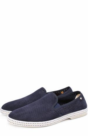 Кожаные эспадрильи с перфорацией Rivieras Leisure Shoes. Цвет: темно-синий