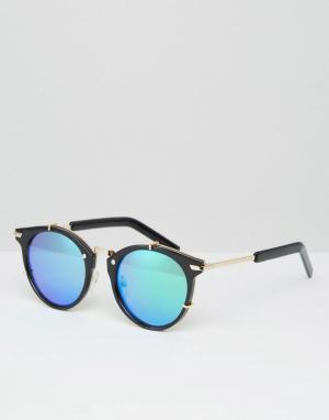 Jeepers Peepers Солнцезащитные очки в круглой оправе с голубыми стеклами Peepe. Цвет: черный