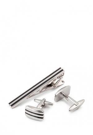 Комплект запонки и зажим для галстука Greg. Цвет: разноцветный
