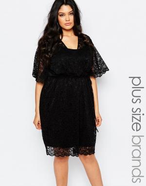 Carmakoma Кружевное платье с запахом. Цвет: черный