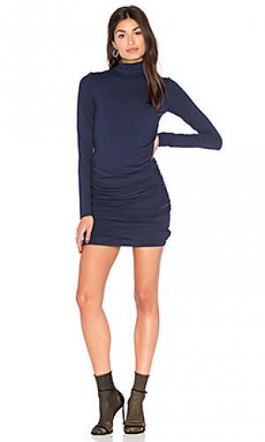 Облегающее платье с высоким воротником twenty. Цвет: синий
