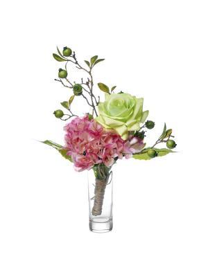 Композиция из искусственных цветов (роза, гортензия) TERRAFIORI. Цвет: зеленый, розовый