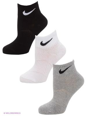 Носки 3 пары 3PPK LIGHTWEIGHT QUARTER Nike. Цвет: черный, серый, белый