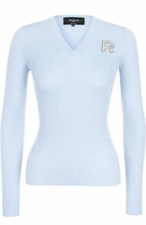 Шерстяной пуловер с круглым вырезом Rochas. Цвет: голубой