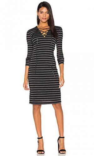Платье со шнуровкой luxe twenty. Цвет: черный