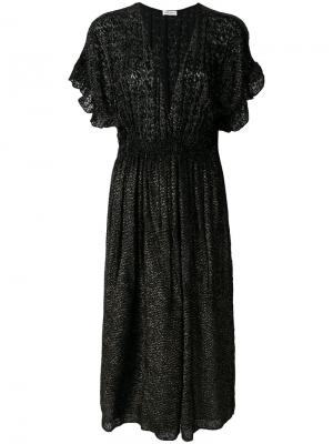 Платье с V-образным вырезом и оборками на рукавах Masscob. Цвет: чёрный