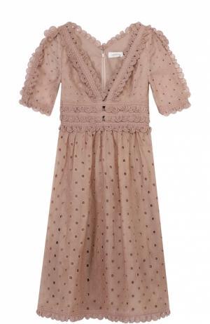 Кружевное приталенное платье с v-образным вырезом Zimmermann. Цвет: розовый