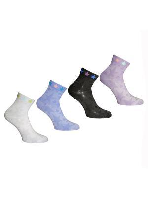 Носки, 4 пары Master Socks. Цвет: белый, черный, голубой, сиреневый