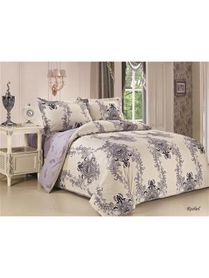 Комплект постельного белья евро 70х70 Jardin. Цвет: светло-серый, синий, серо-голубой, серо-зеленый