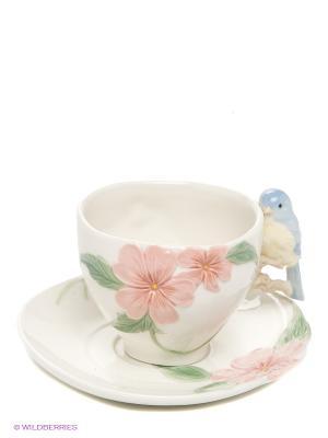 Чайная пара Голубая птица Счастья Pavone. Цвет: молочный, розовый, голубой