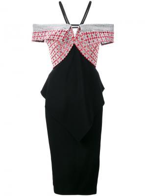 Приталенное платье с открытыми плечами Roland Mouret. Цвет: чёрный
