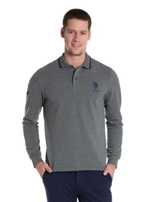 Лонгслив-поло U.S. Polo Assn.. Цвет: серый