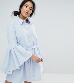 Unique 21 Hero Plus Платье-рубашка с расклешенными рукавами. Цвет: синий