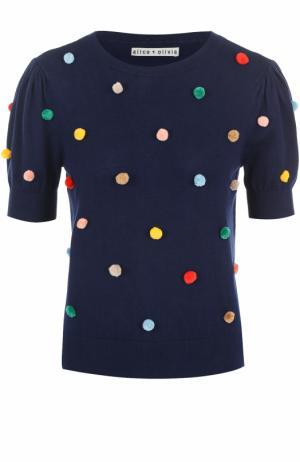 Пуловер с укороченным рукавом и контрастной отделкой Alice + Olivia. Цвет: разноцветный