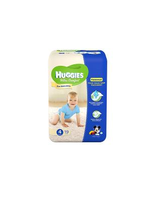 Подгузники Ultra Comfort Размер 4 8-14кг 19шт для мальчиков HUGGIES. Цвет: голубой, синий