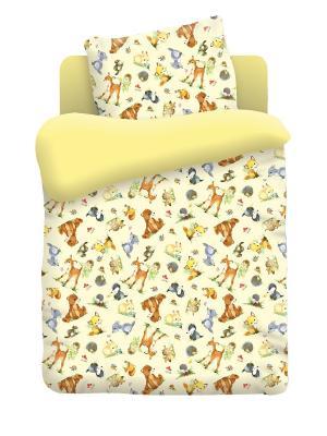 Комплект постельного белья в кроватку Бязь Лесные Обитатели Непоседа. Цвет: желтый, белый