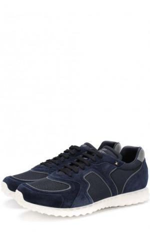 Комбинированные кроссовки  Garavani Soul AM на шнуровке Valentino. Цвет: темно-синий