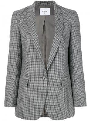 Приталенный пиджак в клетку Dondup. Цвет: серый
