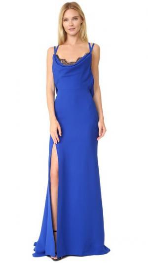 Шелковое вечернее платье с воротником-хомутом Reem Acra. Цвет: фиолетово-синий/черный
