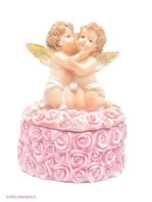 Шкатулка-сердце Ангелочки Elan Gallery. Цвет: розовый, бежевый