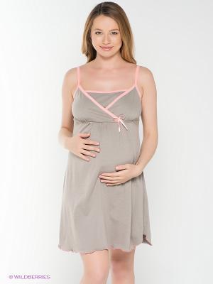 Ночная сорочка для беременных и кормления 40 недель. Цвет: серо-коричневый, розовый