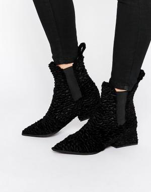 Jeffrey Campbell Бархатные ботинки челси с острым носком. Цвет: черный