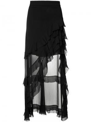 Асимметричная юбка с оборчатым дизайном Alice+Olivia. Цвет: чёрный