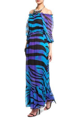 Платье DIANE VON FURSTENBERG. Цвет: черный, голубой, фиолетовый