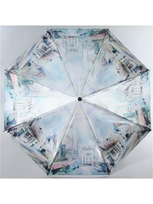Зонт Trust Женский, 3сложения, Автомат, Полиэстер, Фото-Сатин. Цвет: голубой, коричневый, розовый