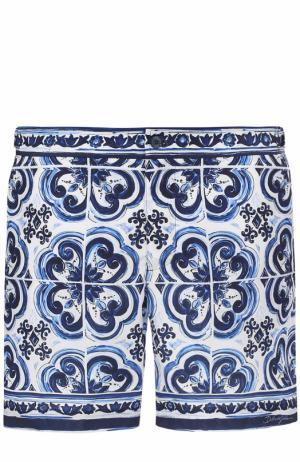 Плавки-шорты с принтом Dolce & Gabbana. Цвет: голубой