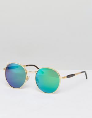Wildfox Солнцезащитные очки с зеркальными стеклами Dakota. Цвет: золотой