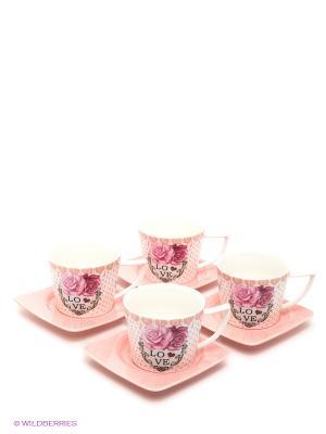 Чайный набор, 8 предметов LORAINE. Цвет: бледно-розовый