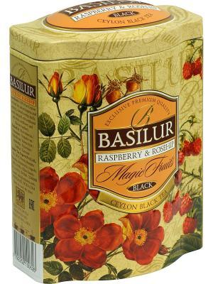Чай Basilur ВОЛШЕБНЫЕ ФРУКТЫ Малина и шиповник, 1 БАНОЧКА. Цвет: бежевый, красный, оранжевый