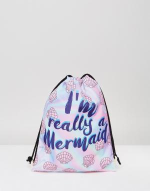 7X Рюкзак с затягивающимся шнурком и принтом Im Really A Mermaid. Цвет: белый