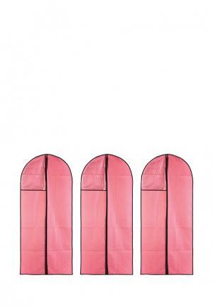 Комплект чехлов для одежды 3 шт. El Casa. Цвет: розовый